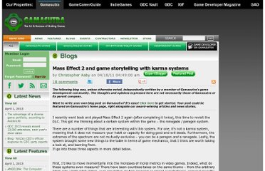 http://www.gamasutra.com/blogs/ChristopherAaby/20110418/7451/Mass_Effect_2_and_game_storytelling_with_karma_systems.php