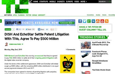 http://techcrunch.com/2011/05/02/dish-and-echostar-settle-patent-litigation-with-tivo-agree-to-pay-500-million/