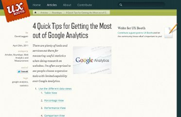 http://www.uxbooth.com/blog/4-quick-tips-for-getting-the-most-out-of-google-analytics/