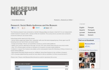 http://www.museumnext.org/2010/blog/research-social-media-audiences-and-the-museum