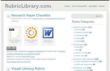 http://rubriclibrary.com/category/assessment-methodologies/course-embedded-assessment/page/2/