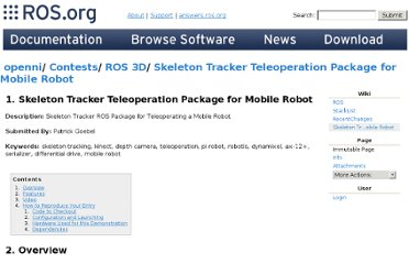 http://www.ros.org/wiki/openni/Contests/ROS%203D/Skeleton%20Tracker%20Teleoperation%20Package%20for%20Mobile%20Robot