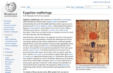 http://en.wikipedia.org/wiki/Egyptian_mythology#Mythology