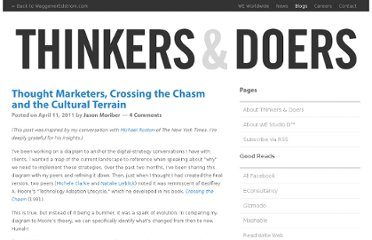 http://blogs.waggeneredstrom.com/thinkers-and-doers/2011/04/thought-marketers-crossing-the-chasm-and-the-cultural-terrain/