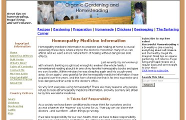 http://www.organic-gardening-and-homesteading.com/homeopathy-medicine-information.html