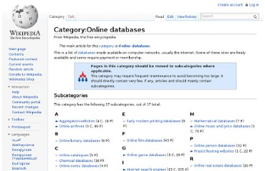 http://en.wikipedia.org/wiki/Category:Online_databases