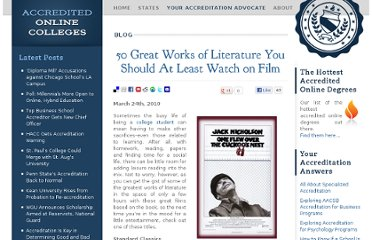 http://www.accreditedonlinecolleges.com/blog/2010/50-great-works-of-literature-you-should-at-least-watch-on-film/