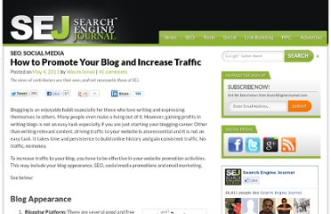 http://www.searchenginejournal.com/how-to-promote-your-blog-and-increase-traffic/29520/
