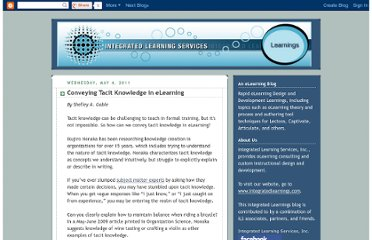 http://blog.integratedlearningservices.com/2011/05/conveying-tacit-knowledge-in-elearning.html