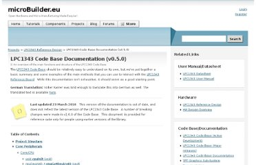 http://www.microbuilder.eu/Projects/LPC1343ReferenceDesign/CodeBaseDocumentation.aspx
