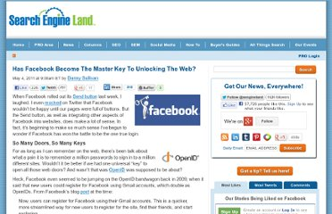 http://searchengineland.com/has-facebook-become-the-master-key-to-unlocking-the-web-75139