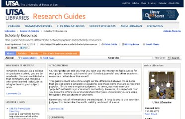 http://lib.utsa.edu/Research/Subject/scholarlyguide.html