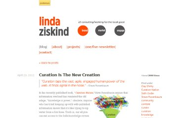 http://lindaziskind.com/curation-is-the-new-creation