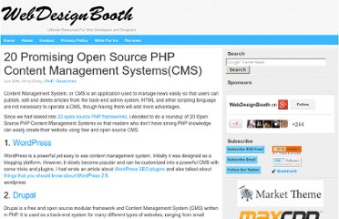 http://www.webdesignbooth.com/20-promising-open-source-php-content-management-systemscms/