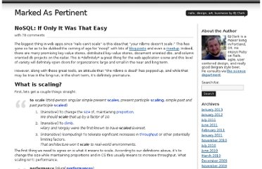 http://bjclark.me/2009/08/nosql-if-only-it-was-that-easy/