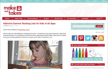 http://www.makeandtakes.com/addictive-summer-reading-lists-for-kids-of-all-ages
