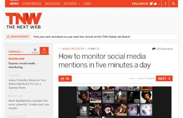 http://thenextweb.com/lifehacks/2011/05/06/how-to-monitor-social-media-mentions-in-five-minutes-a-day/