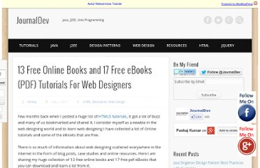 http://www.journaldev.com/301/13-free-online-books-and-17-free-ebooks-pdf-tutorials-for-web-designers