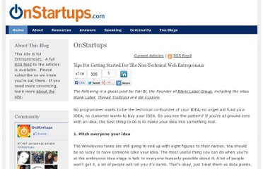 http://onstartups.com/tabid/3339/bid/49760/Tips-For-Getting-Started-For-The-Non-Technical-Web-Entrepreneur.aspx