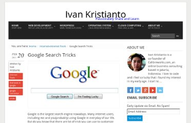http://www.ivankristianto.com/internet/tools/google-search-tricks/1735/
