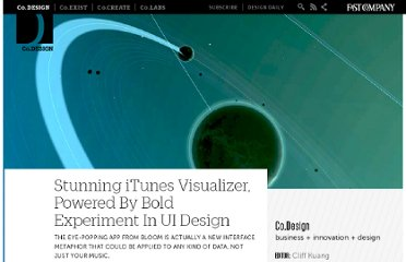 http://www.fastcodesign.com/1663769/stunning-itunes-visualizer-powered-by-bold-experiment-in-ui-design