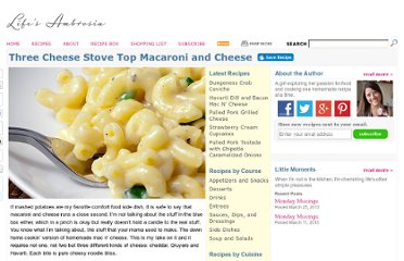 http://www.lifesambrosia.com/2009/12/three-cheese-stove-top-macaroni-and-cheese-recipe.html