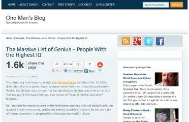 http://onemansblog.com/2007/11/08/the-massive-list-of-genius-people-with-the-highest-iq/