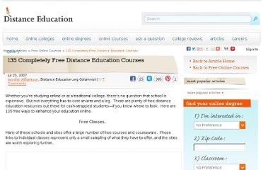 http://www.distance-education.org/Articles/135-Completely-Free-Distance-Education-Courses-26.html