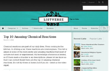http://listverse.com/2008/03/04/top-10-amazing-chemical-reactions/