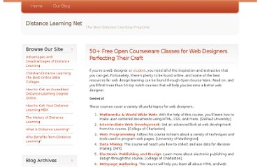 http://www.distancelearningnet.com/blog/2009/50-free-open-courseware-classes-for-web-designers-perfecting-their-craft/