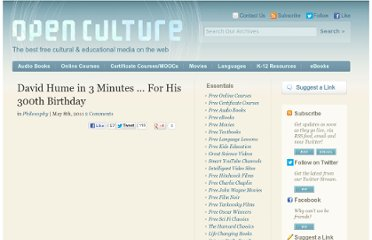 http://www.openculture.com/2011/05/david_hume_in_3_minutes_for_his_300th_birthday.html