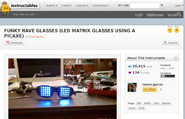http://www.instructables.com/id/FUNKY-RAVE-GLASSES-LED-MATRIX-GLASSES-USING-A-PIC/