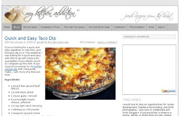 http://www.mykitchenaddiction.com/2009/06/quick-and-easy-taco-dip/