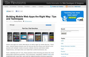 http://sixrevisions.com/web-applications/building-mobile-web-apps-the-right-way-tips-and-techniques/
