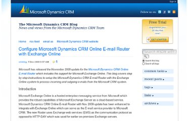 http://blogs.msdn.com/b/crm/archive/2009/12/07/configure-microsoft-dynamics-crm-online-e-mail-router-with-exchange-online.aspx