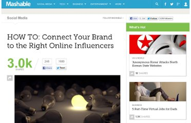 http://mashable.com/2011/05/09/leverage-online-influencers/