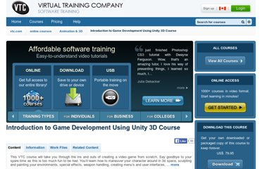 http://www.vtc.com/products/Introduction-to-Game-Development-Using-Unity-3D-Tutorials.htm