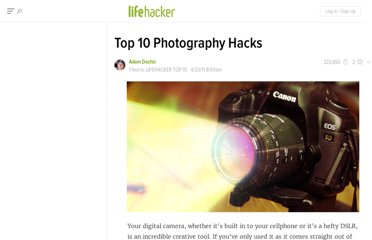 http://lifehacker.com/5795003/top-10-photography-hacks
