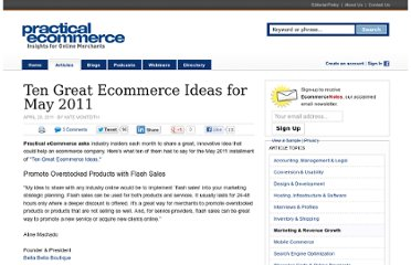 http://www.practicalecommerce.com/articles/2740-Ten-Great-Ecommerce-Ideas-for-May-2011