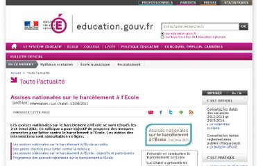 http://www.education.gouv.fr/cid55689/assises-nationales-sur-le-harcelement-a-l-ecole.html
