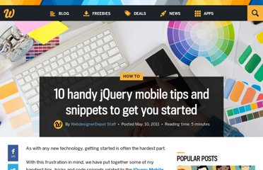 http://www.webdesignerdepot.com/2011/05/10-handy-jquery-mobile-tips-and-snippets-to-get-you-started/