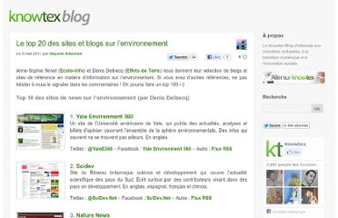 http://www.knowtex.com/blog/le-top-20-des-sites-et-blogs-sur-lenvironnement/