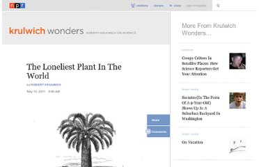 http://www.npr.org/blogs/krulwich/2011/05/10/136029423/the-loneliest-plant-in-the-world