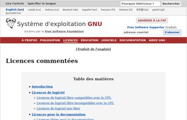 http://www.gnu.org/licenses/license-list.fr.html