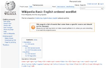 http://simple.wikipedia.org/wiki/Wikipedia:Basic_English_ordered_wordlist
