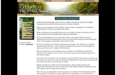 http://www.thecelestineprophecymovie.com/insights.php