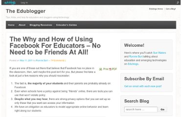 http://theedublogger.com/2011/05/11/the-why-and-how-of-using-facebook-for-educators-no-need-to-be-friends-at-all/