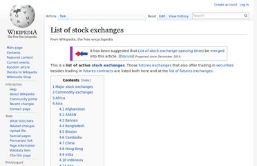 http://en.wikipedia.org/wiki/List_of_stock_exchanges