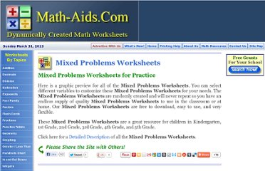 http://www.math-aids.com/Mixed_Problems/