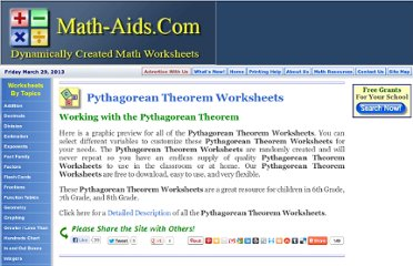 http://www.math-aids.com/Pythagorean_Theorem/